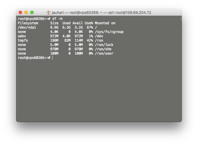 Check Space Hard Disk di Linux