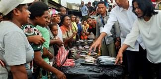 Ilustrasi foto dokumentasi Presiden Joko Widodo (kanan) didampingi Ibu Negara Iriana Joko Widodo membeli ikan di Pasar Sentral Sorong, Papua Barat, Minggu (28/12/15) / Nusantaranews.co via Fotoantara