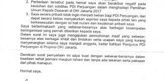 Surat Pengunduran Diri Ali Sadikin sebagai Kader PDIP/Foto Ahmad