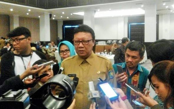 Menteri Dalam Negeri (Mendagri) Tjahjo Kumolo di Hotel Royal Kuningan, Jakarta Selatan, Selasa, (27/9)/Foto Fadilah/Nusantaranews