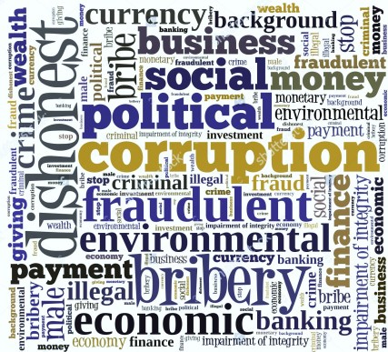 Corruption in word collage (Stock Photo)