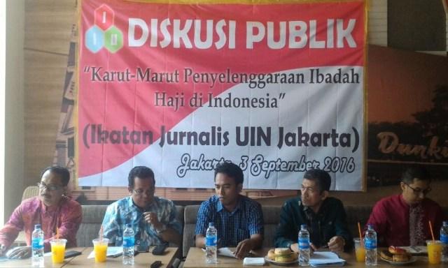 Diskusi Ikatan Jurnalis UIN (IJU) Jakarta 'Karut Marut Penyelenggaraan Haji di Indonesia', Jakarta, Sabtu (3/9)/Nusantaranews Photo/Deni Muhtarudin