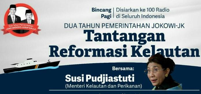 poster dialog bersama Susu Pudjiastuti dengan Tema Tantangan Reformasi Kelautan Kamis (20/10/2016)/Foto IST