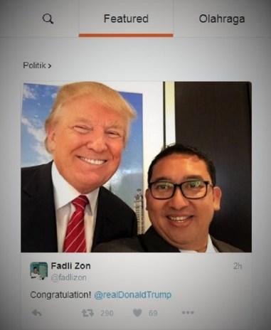 Akun Twitter Fadli Zon di posisi pertama Beranda Twitter (Politik, 9/11)/Ilustrasi Nusantaranews