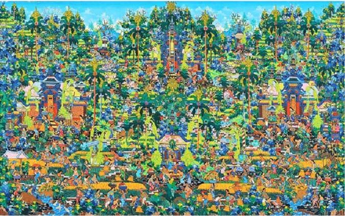 Balinese Landscape, Artist: I Ketut Soki - Penestanan, ubud (1946), Oil on Canvas, Size: 75x120 cm/Foto: Koleksi therudana.org