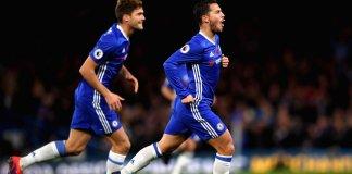 Eden Hazard Rayakan Gol Usai Bobol Gawang Everton. Foto via ESPN