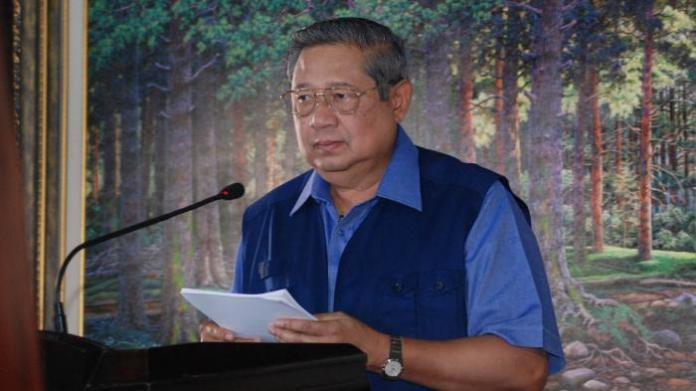 Mantan Presiden Susilo Bambang Yudhoyono saat gelar pers 4 november. Foto via tribun