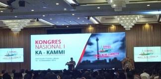JK dalam sambutan pembuka Kongres Nasional ke-1 Keluarga Alumni Keluarga Aksi Mahasiswa Muslim Indonesia (KA-KAMMI) di Kartika Chandra, Jalan Gatot Subroto, Jakarta Selatan, Sabtu (12/11)/Foto: detik
