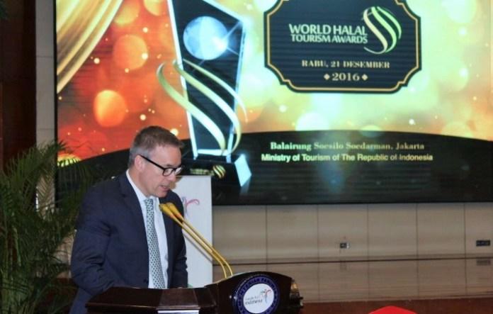 CEO International Travel Week Abu Dhabi, Andy Buchanan dalam sambutannya di acara Jumpa Pers Akhir Tahun 2016 Kementerian Pariwisata di Gedung Pesona Sapta, Jakarta Pusat, Rabu (21/12/2016)/Foto Andika/NUSANTARAnews