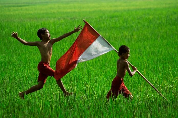 Foto ilustrasi, anak kecil dipematang sawah, membawa bendera merah putih. Foto: Dok. Istimewa