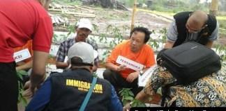 Salah satu WNA Cina saat reka ulang menanam cabai berbakteri berbahaya di lahan terpencil di Bogor. Foto Romdhoni/Radar Bogor