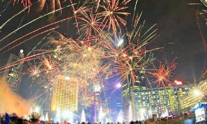Pesta Kembang Api di Bundaran HI Meriahkan Tahun Baru di Indonesia Barat/Foto Dok. Pribadi