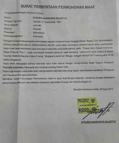Surat Pernyataan Permohonan Maaf Steven Hadisurya Sulistyo/Foto Istimewa/Nusantaranews