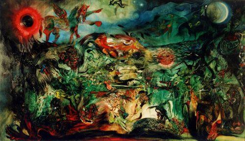 Nasirun - 1997 - Imaji Bintang Bima Sakti (145x250) Oil Paint on Canvas. Foto: Dokumentasi Edwin's Gallery/ archive.ivaa-online.org