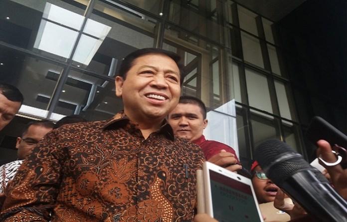 Setya Novanto rampung diperiksa KPK, Jumat (14/7). (Foto: Restu Fadilah/Nusantaranews)