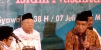 Ketua Umum PBNU, Kiyai Said Aqil Sirad saat acara halal bi halal di kantor PBNU, Jum'at (7/7/2017) malam. Foto Achmad Sulaiman/ NUSANTARAnews
