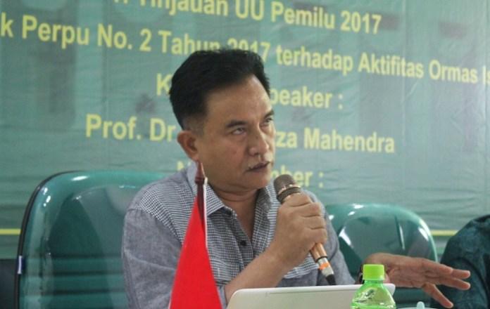 Ketua Umum Partai Bulan Bintang (PBB) Yusril Ihza Mahendra dalam diskusi bertajuk