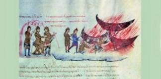 Kaum Saracen ketika tiba di pulau Kreta, dari kronik Eve Poster. Lukisan via Zazzle. Ilustrasi: NusantaraNews.co