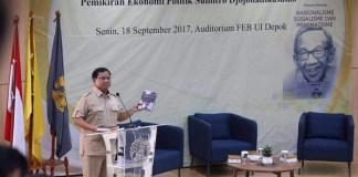 Prabowo Subianto saat menjadi pembicara di acara seminar di UI, 18 September 2017. Foto Nanik Sudaryanti