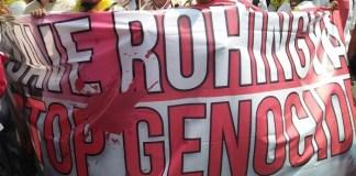 Aksi Solidaritas untuk warga Rohingya di depan Kedubes Myanmar. Foto Istimewa (WAG)/ NusantaraNews.co