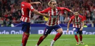Antoine Griezmann selebrasi usai mencetak gol ke gawang Malaga dalam lanjutan La Liga Spanyol di Stadion Wanda Metropolitano pada Ahad (17/9) dinihari WIB. (Foto: Reuters)