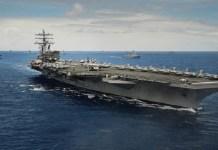 Kapal induk Angkatan Laut Amerika Serikat, USS Ronald Reagan, berlatih bersama kapal perang Jepang di Semenanjung Korea. (Foto: Getty)
