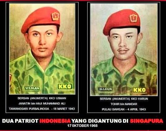 Sersan Dua Usman Janatin dan Kopral Harun Said merupakan anggota KKO (Korps Komando Operasi; kini disebut Marinir) yang tewas di tiang gantung Singapura. Foto Ilustrasi: bonnie setiawan (@bonniesetiawan)