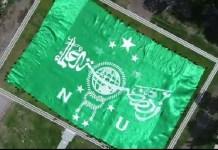 Bendera NU Raksasa pada pembukaan Munas Alim Ulama dan Konbes NU mendapat REKOR MURI. Foto: Dok. Panitia