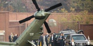 Presiden AS Donald Trump batal berkunjung ke Zona Demiliterisasi Korea (DMZ) akibat kabut tebal. (Foto: AP)Andrew Harnik)