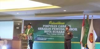 Ketua PP GP Ansor H Yaqut Cholil Qoumas berpesan kepada pengurus baru PC GP Ansor Kota Surabaya Masa Khidmat 2017-2021 saat memberikan amanat pasca pelantikan pada Ahad (5/10) di Hotel Tunjungan. (Foto: Istimewa)