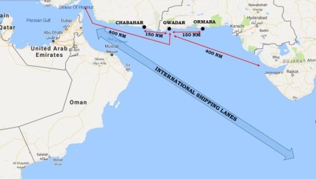 Peta strategis jalur laut di kota pelabuhan Gwadar, Pakistan. Foto: dar in the Northern IOR