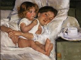 Lukisan Mary Cassatt's Breakfast in Bed (1897). Foto: Dok. huntingtonblogs.org