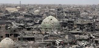 Kondisi kerusakan prah di Kota Mosul, Irak akibat perang.