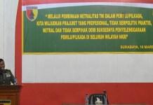 Kepala Seksi Teritorial (Kasi Ter) Korem, Mayor Inf Wakhid Dedy yang hadir mewakili Kolonel Kav M. Zulkifli. Jumat (16/3) di aula Makorem Bhaskara Jaya. (Foto: Istimewa)