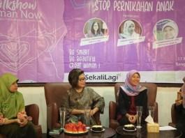 Rumah Perempuan dan Anak (RPA) bersama Hijab Style Community menggelar kegiatan Talkshow Stop Perkawinan Anak, di Bangi Kopitiam, Kompleks Kota Tua, Pinangsia, Panangsari, Jakarta Barat, Sabtu (17/3/2018). (FOTO: NUSANTARANEWS.CO/Isna)