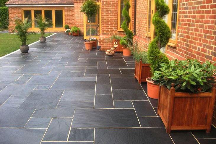 blue black slate paving 18m patio kit