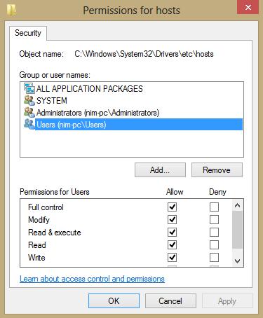 host file edit