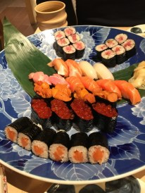 A plate of sushi from Hatsuhana