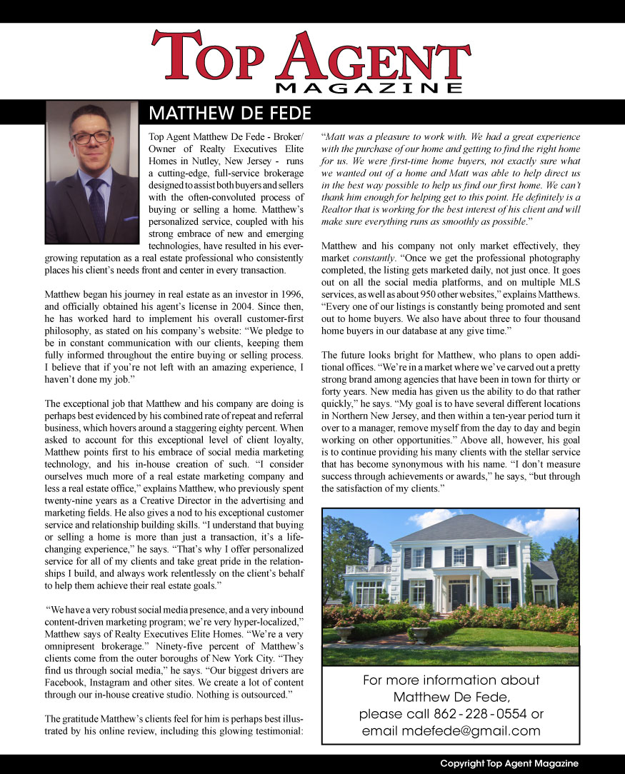 Matthew De Fede Listing Agent in Wyckoff & Franklin Lakes NJ