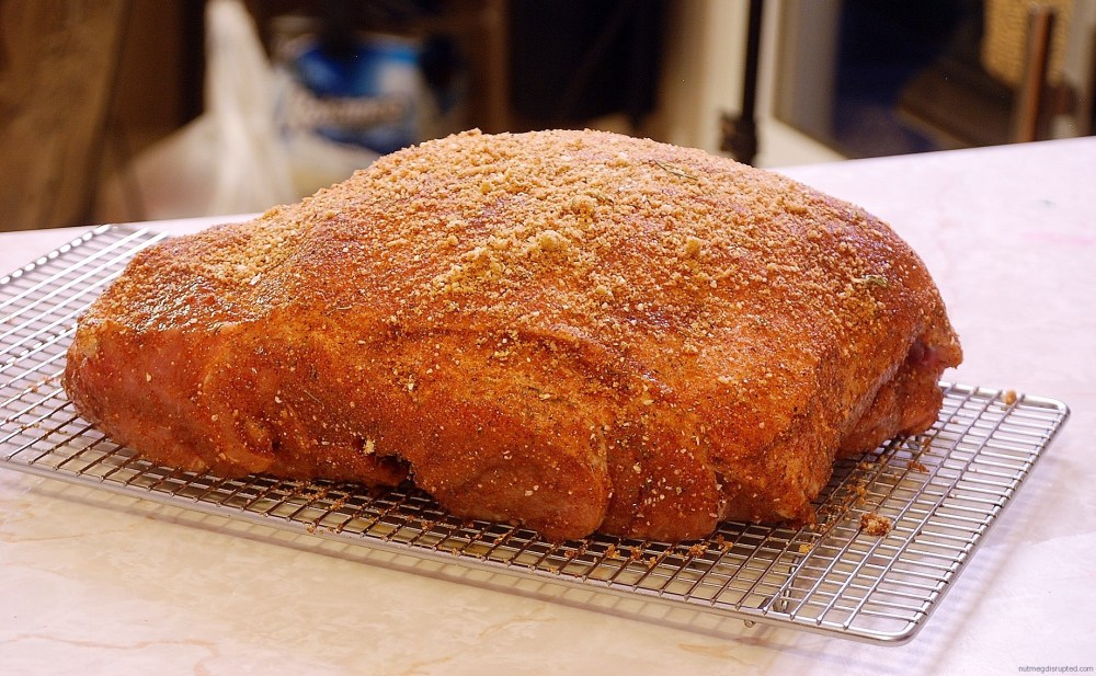 Brined and spice rubbed pork butt ready for the smoker on Nutmeg Disrupted