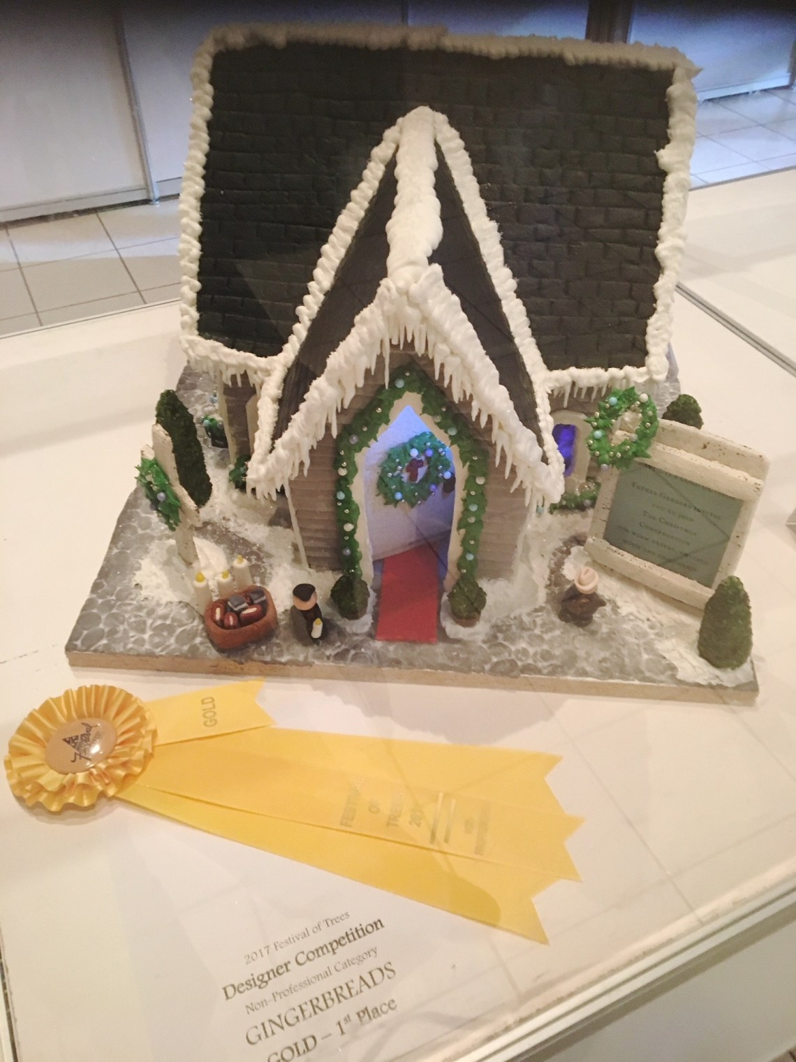 The Christmas Congregation Gingerbread Church takes the GOLD at the Festival of Trees in Edmonton in 2017