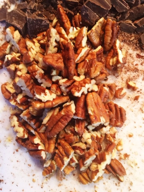 Toasted pecans for Keto Chocolate Chunk Cookies on Nutmeg Disrutped