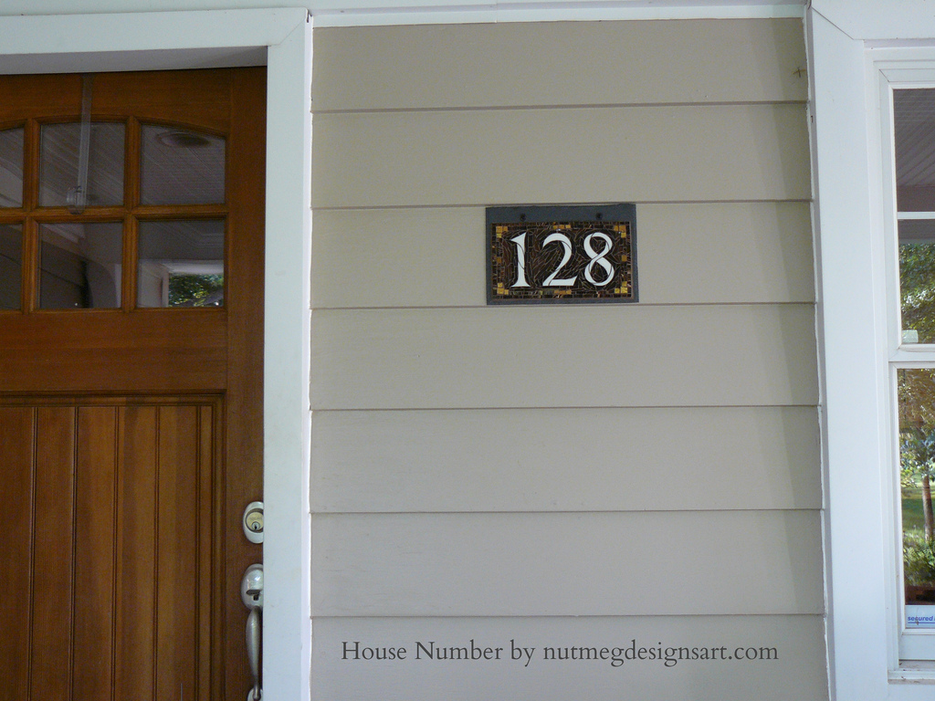 Wordless Wednesday: Mosaic House Number On Slate In Copper