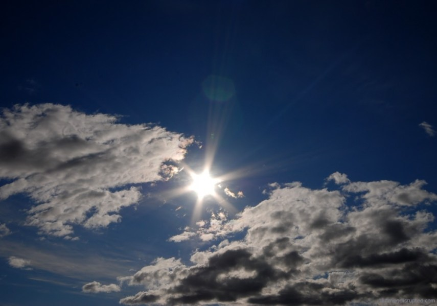 Sunny summer sky above Sexsmith, Alberta on Nutmeg Disrupted