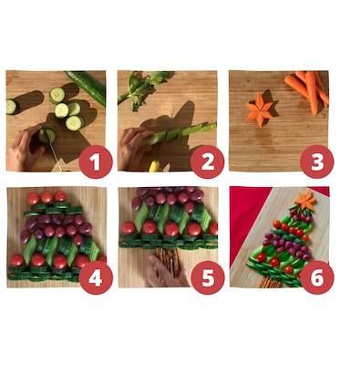 Etapes à suivre pour la recette de sapin de Noël aux fruits et légumes