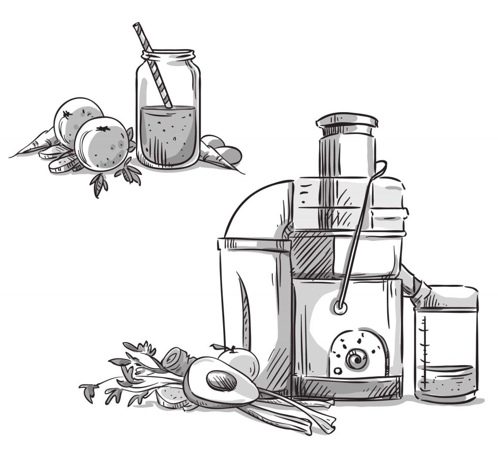 Centrifugal juicer drawing with smoothie
