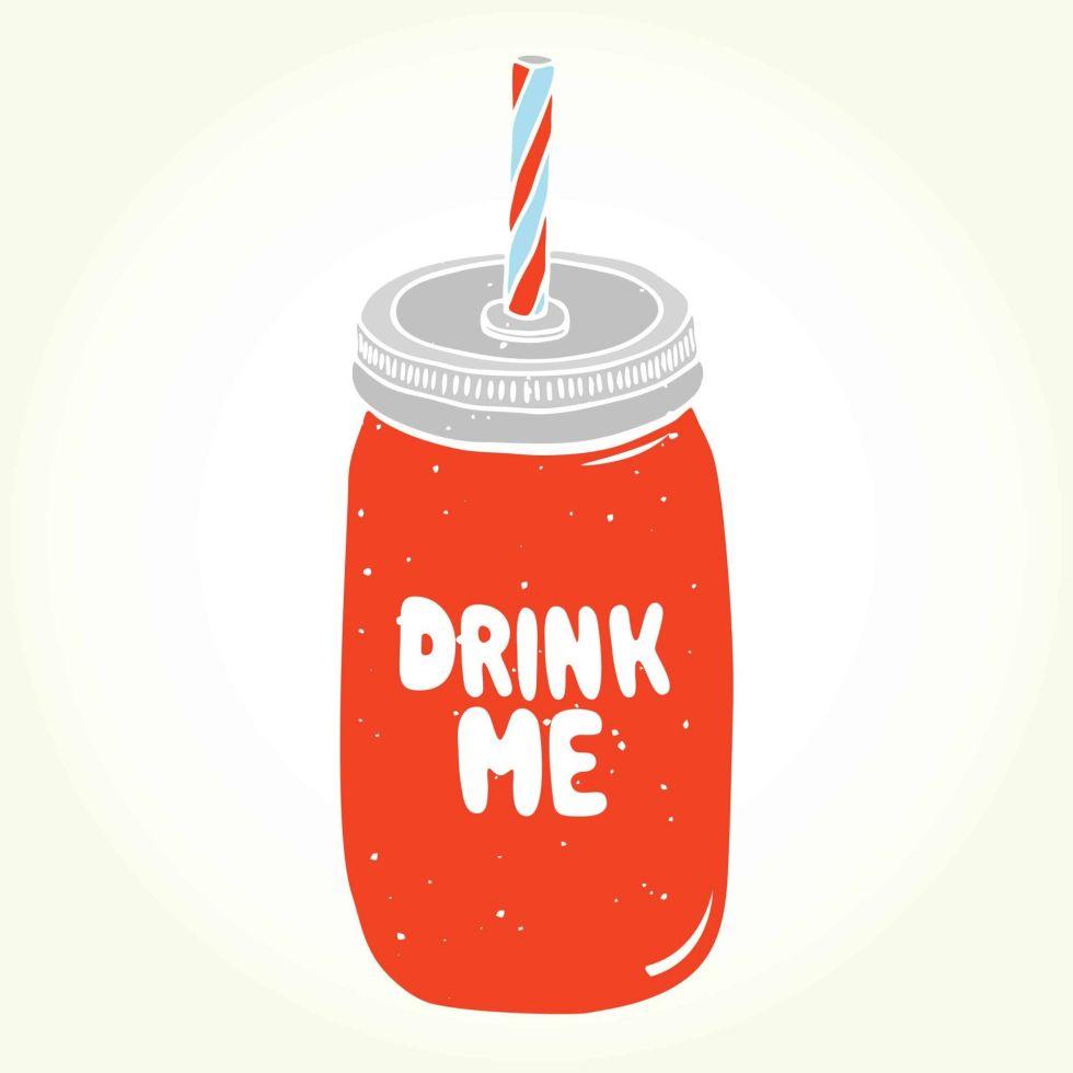 Drink me mason jar illustration