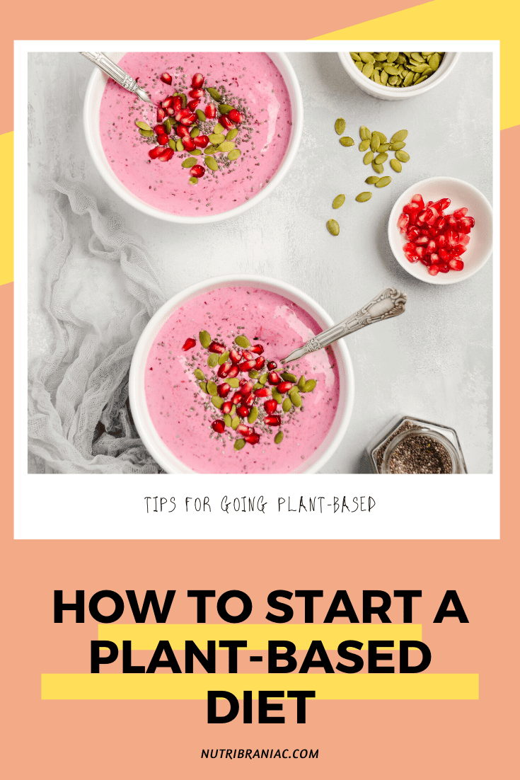 "Pinnable image of a photograph of pink smoothie bowls on a marble table with text overlay: ""Tips for Going Plant-Based: How to Start a Plant-Based Diet"""