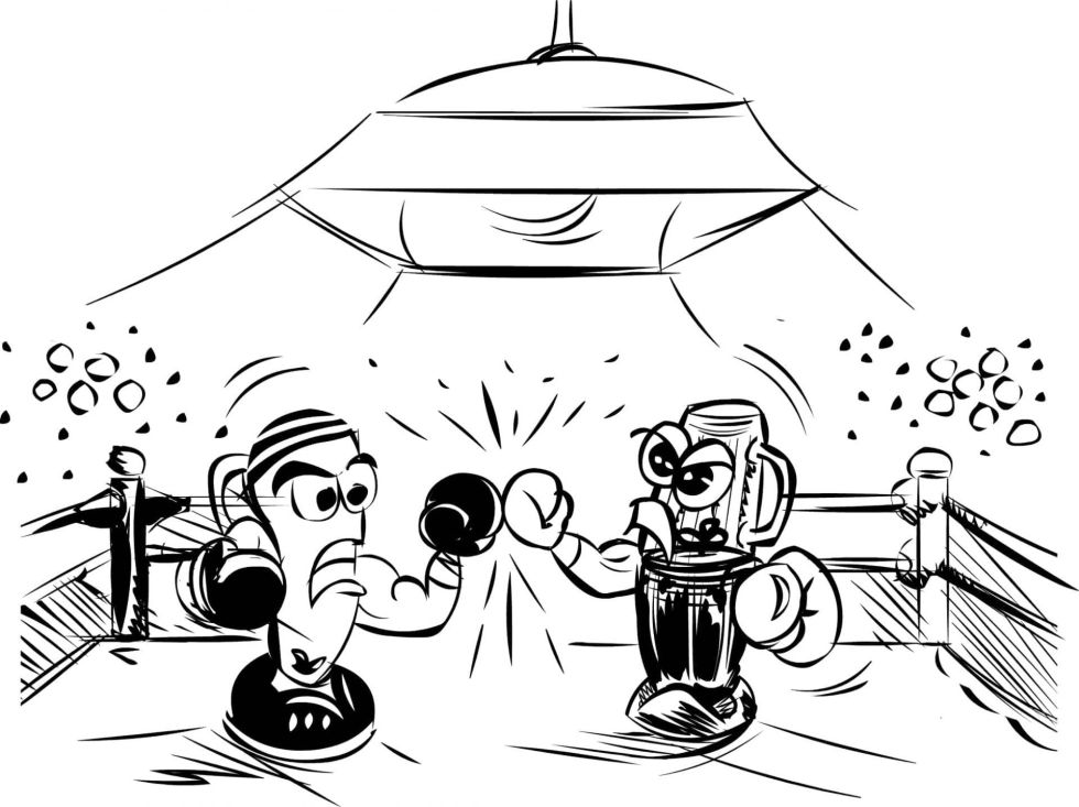 Cartoon drawing of personal blenders fighting