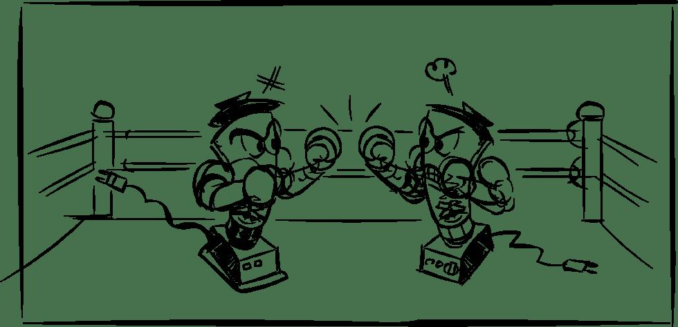 Cartoon blender boxing match